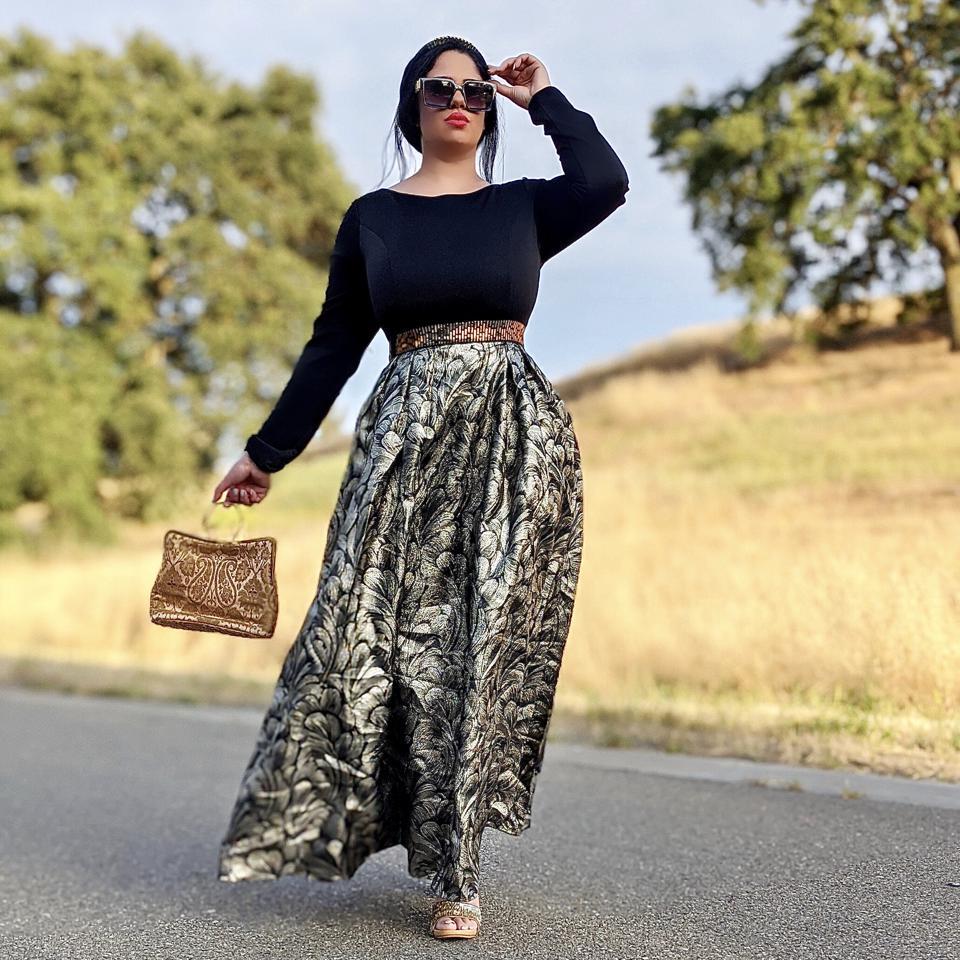 meeta vengapally outdoors modeling dress
