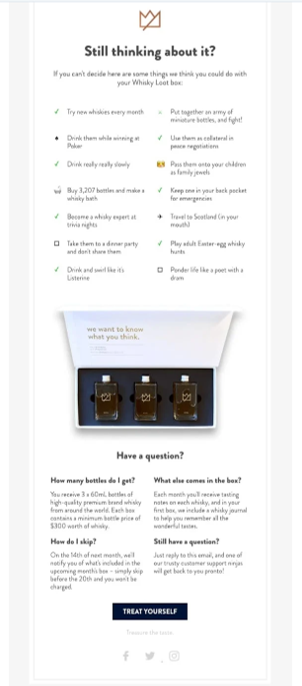 An example of Whiskey Loots abandoned cart emails - Image Source really good emails