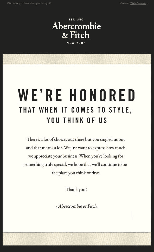 Abercrombie and Fitch thank you for your purchase email