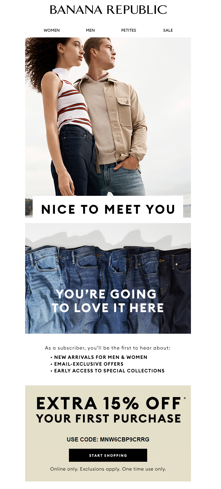 An example from Banana Republic of a welcome email they send out.