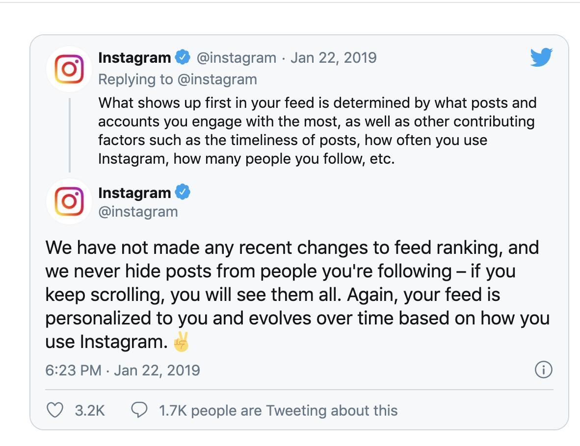 Instagram tweet about engagement on the platform